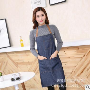 Customizable New Style Home Daily Use Jean Apron Polyester Cotton Thick Waterproof Cafe Work Clothes
