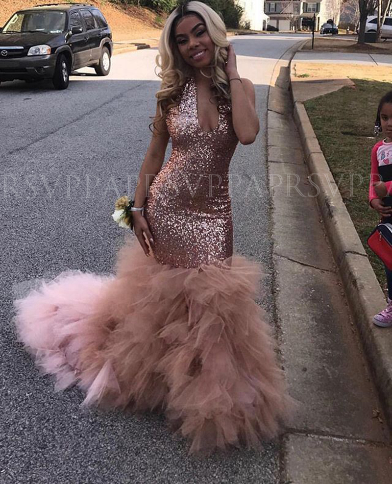 Long Sparkly Prom Dresses 2020 V-neck Elegant Mermaid Sleeveless Rose Gold Sequin African Black Girl Gala Prom Party Gowns