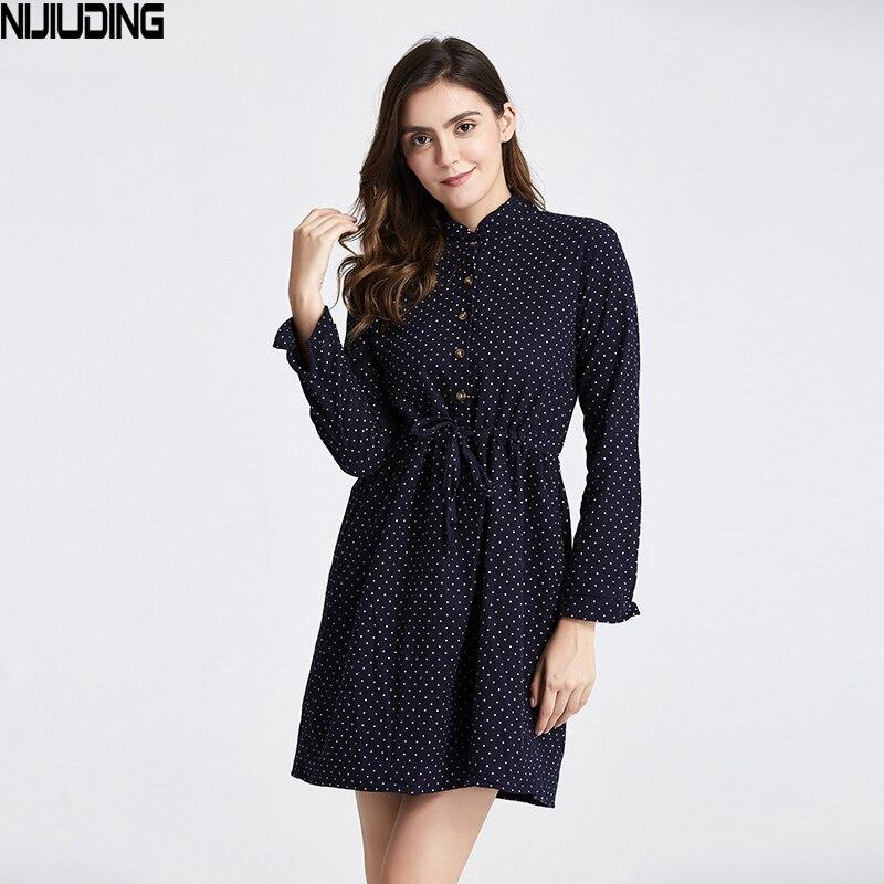 2019 nouvelle mode femmes casual à pois robe moyen-long col montant Slim élastc taille une ligne robe livraison directe