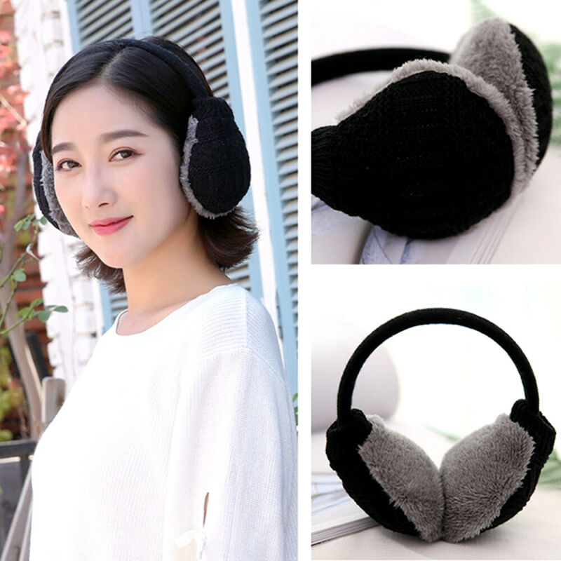 Winter Women Soft Plush Knitted Warm Earmuff Masks Fur Headphones Outdoor Activity Fashion Washable Cute Ear Muffs