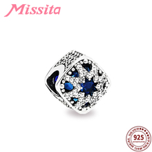 MISSITA 925 Sterling Silver Hollow Blue Crystal Beads fit Pandora Bracelet DIY Jewelry Women Accessories Hot Sale