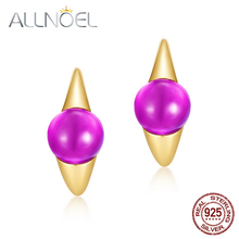 ALLNOEL Solid 925 Sterling Silver Earrings For Women Synthetic  Amethyst Hoop Candy Series 2021 Women's Real Gold Plated New