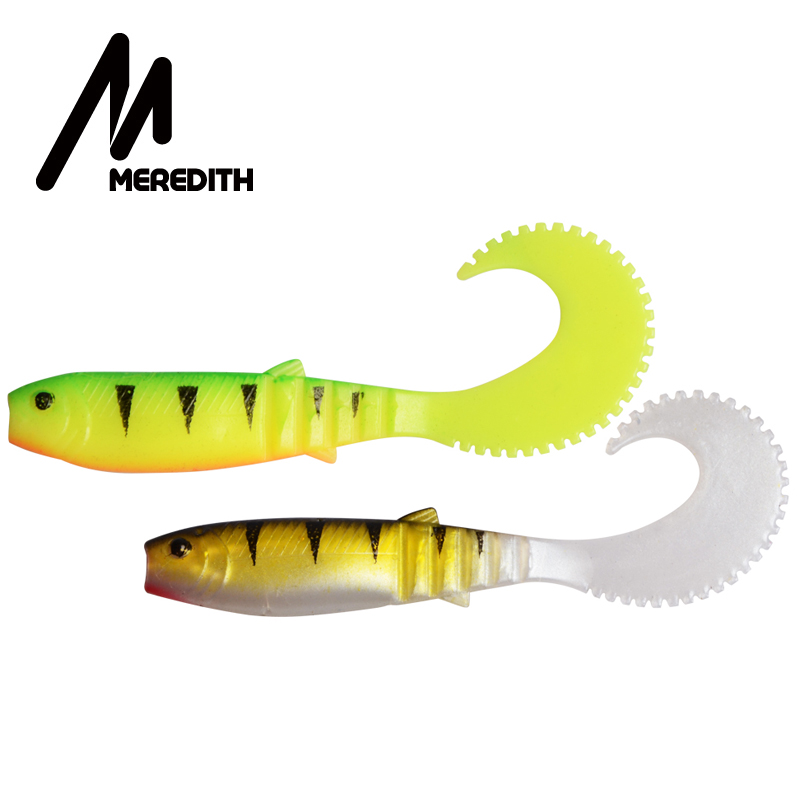 MEREDITH 90mm 4.8g Cannibal Curved Tail Fishing Soft Lures 10pcs Lifelike Soft Artificial Lure Soft Baits Wobblers Lures Fishing Fishing Lures    - title=