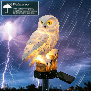 Image 2 - Baykuş led güneş enerjili bahçe ışığı su geçirmez solar ampul ışıkları karikatür hayvan kazık lamba dış aydınlatma dekor çelenk çim yolu Yard