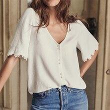 Dentelle Patchwork Blouse femmes manches courtes ample col en V bouton Up blanc Chic rétro chemise 2021 Vintage chemises haut femme élégant