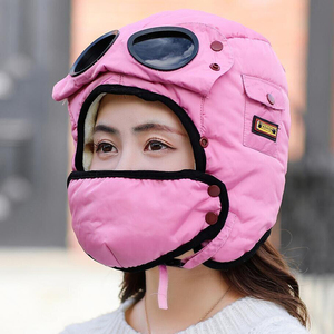 Image 3 - Adult Kids Fleece Earmuffs Hat Skiing Hat Snowboard Riding Motorcycle Men Cycling Bomber Hat with Glasses Windproof Mask