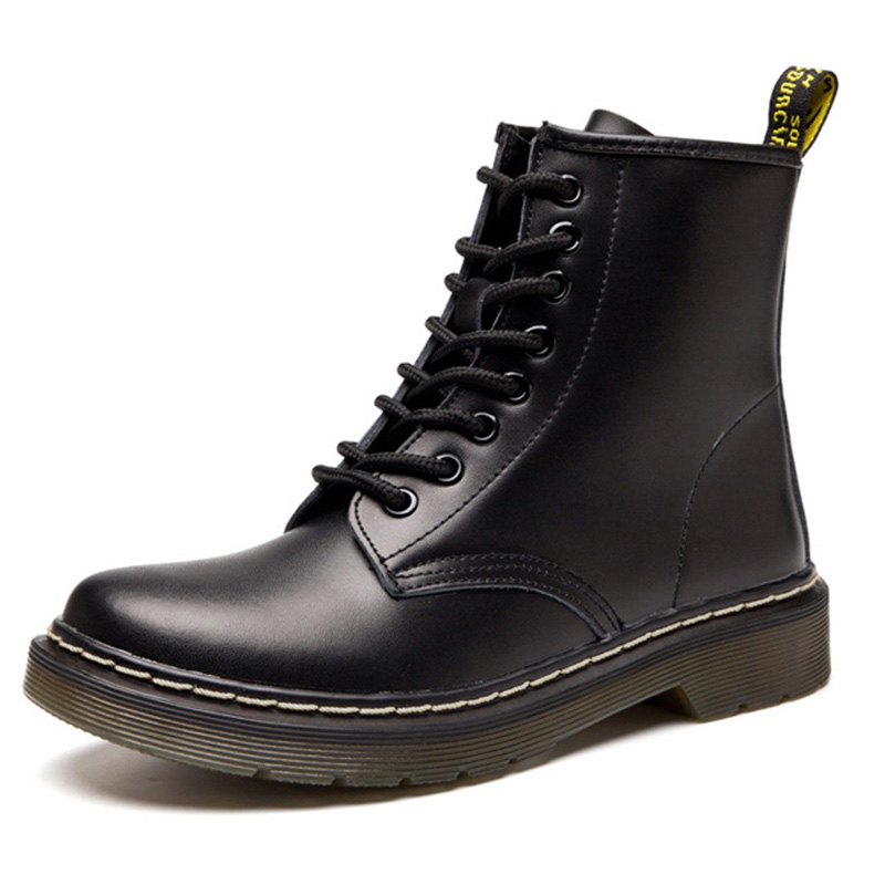 Genuine Leather Men Boots Dr Motorcycle Boots Men Winter Shoes For Martin Boots Male Ankle Boots Black Lace-up Plus Size 45 46
