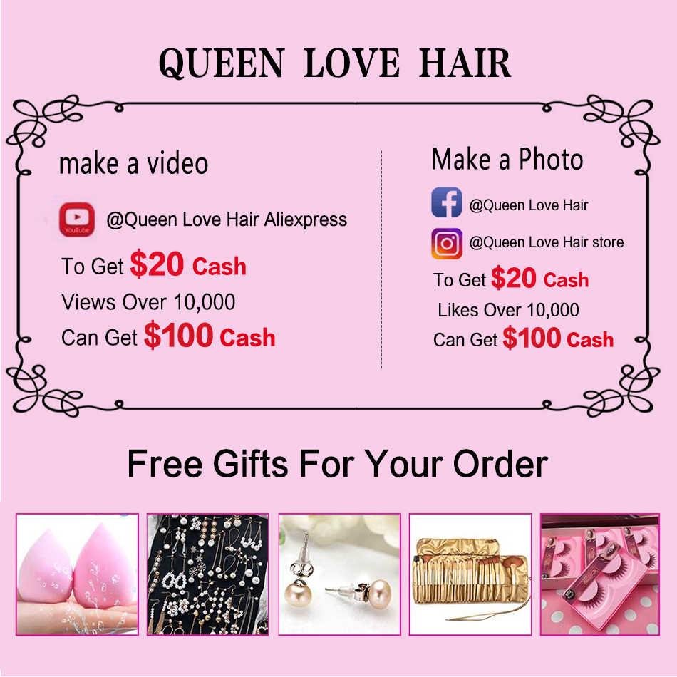 Königin liebe Haar 5 teile/los Malaysische Verworrene Lockige Bundles 4 Bundles Mit Verschluss Menschliches Haar Bundles Mit Verschluss Remy Haar