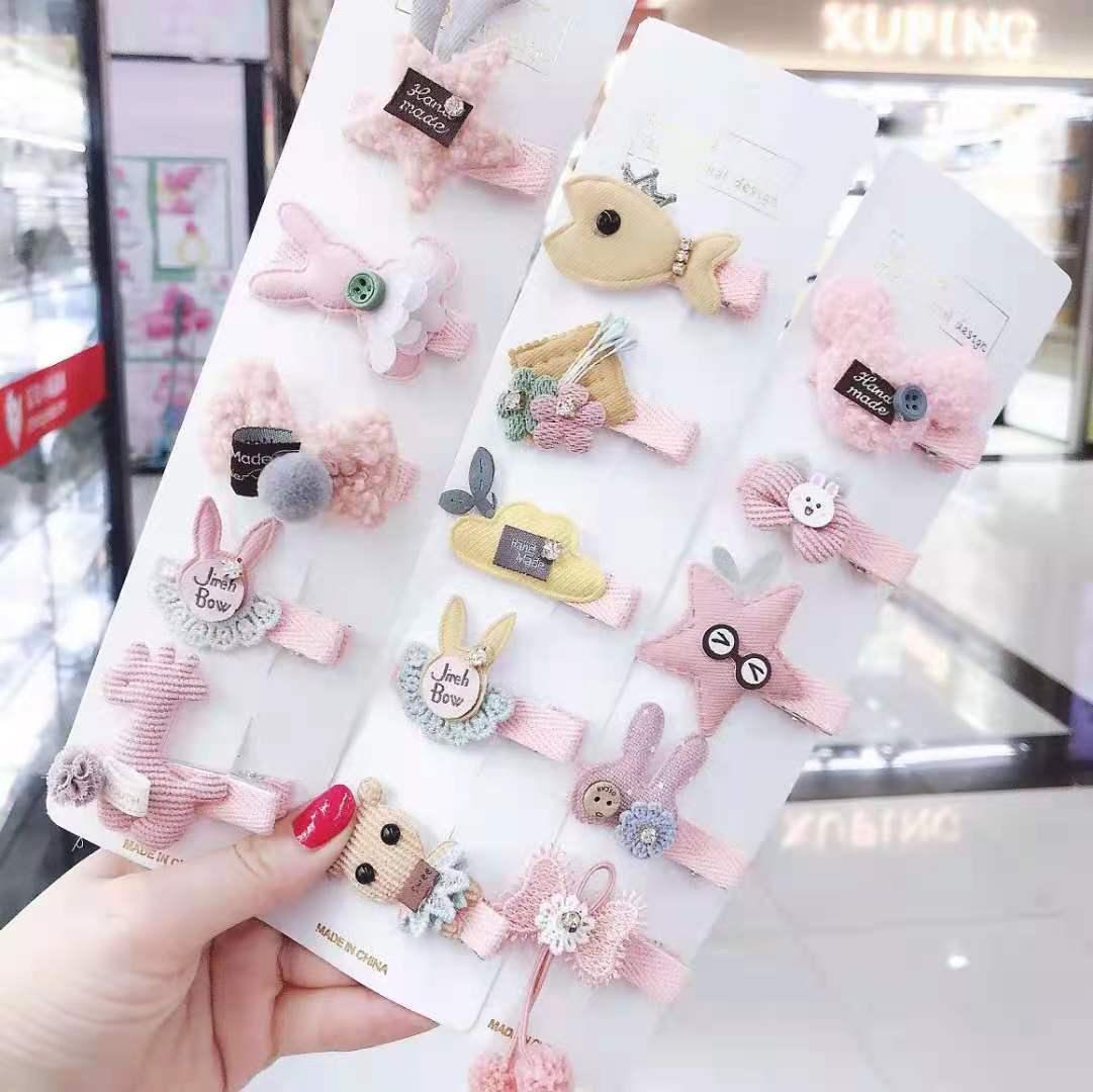 5pcs/set New Cartoon Hairclip Girls Kids Hair Clips Pin Barrettes Accessories Kawaii Children Flower Bowknot Hairpins Headdress
