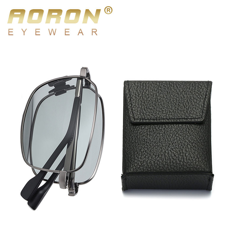 AORON Folding Polarized Sunglasses Men And Women Fashion Rectangular Classic Sunglasses Metal Frame UV-resistant Sun Glasses
