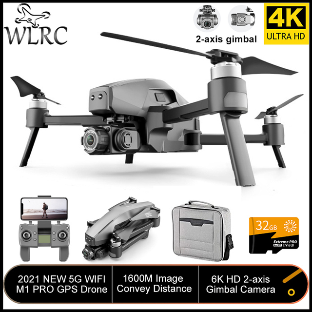 WLRC M1 Pro2 4K GPS Drone 2-Axis Gimbal Professional 6k HD Camera 28mins 1600M 5G Image 32GB TF Card Gifts Boys toy VS SG906 Max 1