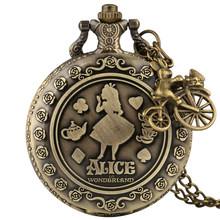 Bronze alice no país das maravilhas relógio de bolso de quartzo com acessório agradável casual árabe número steampunk relógio colar pingente relógios