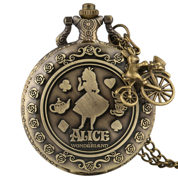 Bronze Alice In Wonderland Quartz Pocket Watch with Nice Accessory Casual Arabic Number Steampunk Clock Necklace Pendant Watches alice in wonderland quartz retro bronze pocket watch necklace pendant alice fans watches beautiful girl pattern girlfriend gift