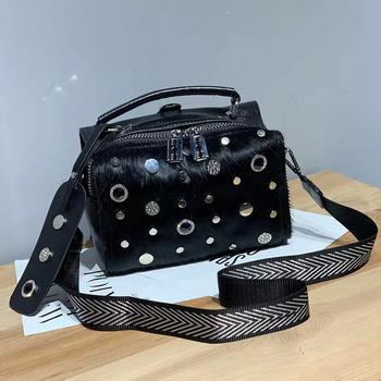 Horse hair female bag 2019 new fashion circle rivets bag shoulder handbag soft leather punk shoulder bags