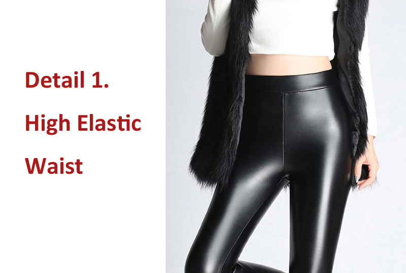 BGTEEVER Spring Autumn Winter Soft PU Leather Pant Women Velvet Pants Warm Stretch Skinny Trousers Pencil Leather Leggings 47