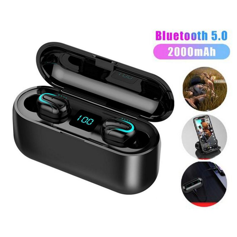 Q32 HIFI Bluetooth5.0 Earphones Sport Blutooth 5.0 Wireless Earbuds  Handsfree Earpieces LED Digital Power Display