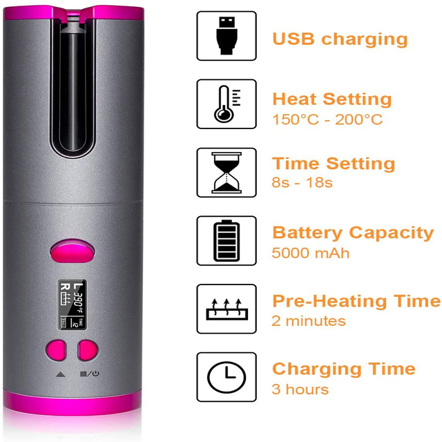 Cordless Automatic Hair Curler Iron  5