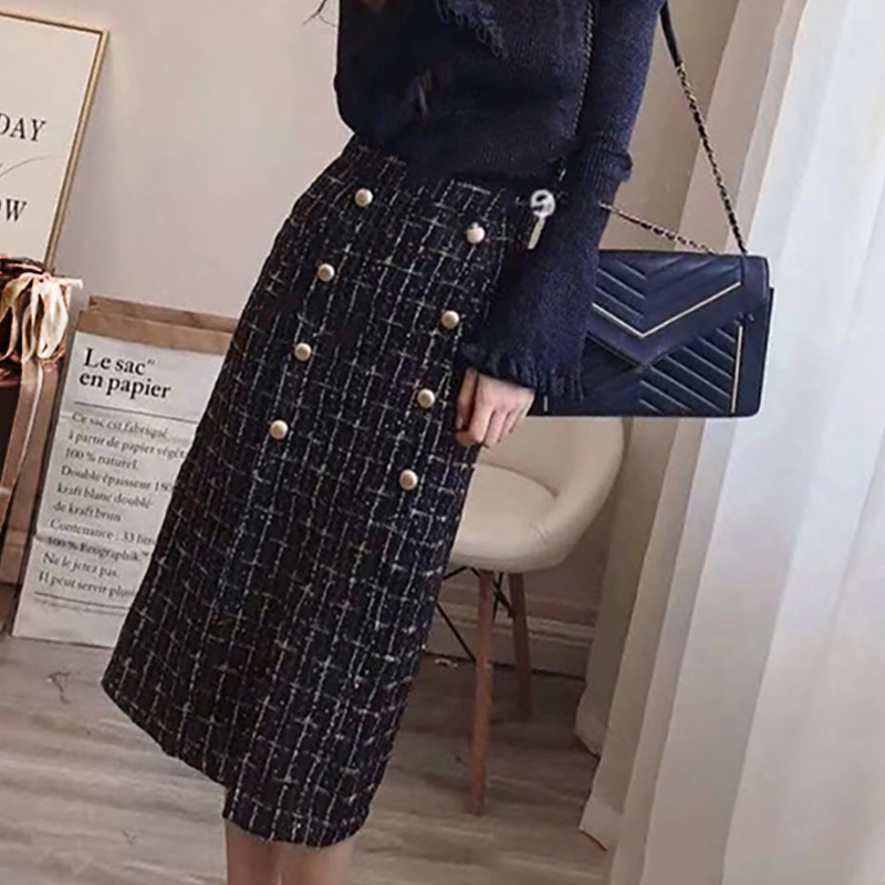 Tweed Skirt Women Dark Blue Plaid Wire Fabric 2020 Spring / Autumn Women's Skirt Ladies Weaving In A Long Skirt
