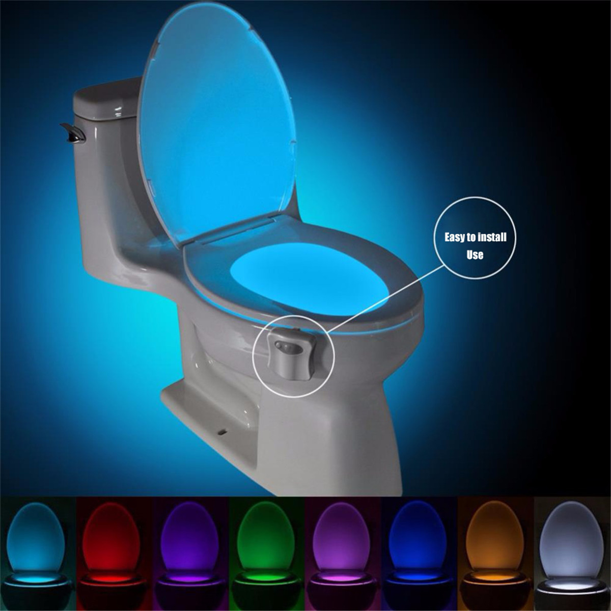 LED Toilet Seat Night Light Motion Sensor WC Light 8 Color Waterproof Variable Light Battery-Powered Bathroom Night Light