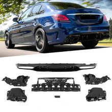 Dla dyfuzora w stylu C63 + czarne chromowane końcówki rury wydechowej Quad pasuje do mercedes-benz klasy C W205 S205 AMG-Line 2015-2020 narzędzie samochodowe tanie tanio VGEBY CN (pochodzenie) Tylny Rear Bumper Diffuser Rear Diffuser Diffuser Exhaust Tips Tłumik Quad Exhaust Tips