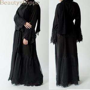 Dubai Style Wedding Open Abaya Black Lace Maxi Cardigan Kaftan Cocktail Dress Robe