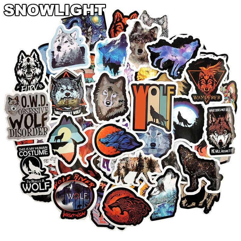 10/30/50 pcs/set The Wolf Animal Stickers Toys For Children To Diy Suitcase Laptop Car Motorcycle Skateboard