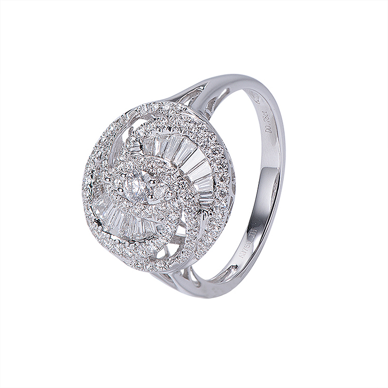 AEAW 0.79cttw Natural Diamond Solid 18k White Gold Baguette 0.32ct Light Luxury Diamond Engagement Wedding Ring For Women