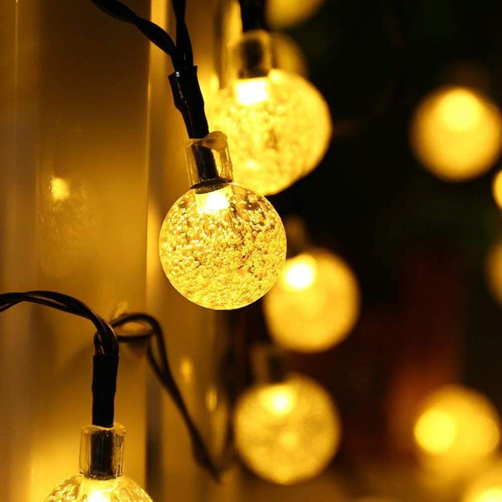 LED Solar Light Warm White Bubble Crystal Ball Light String Fairy Lights Solar Garlands Garden Christmas Decor Solar Lamp
