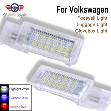 2x For skoda superb VW Caddy Eos Golf Plus Jetta LED Footwell Boot under door courtesy Luggage compartment Glove box light Lamp