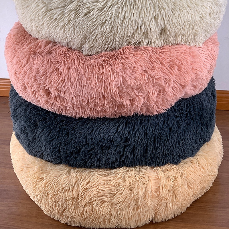 Cat Bed Round Plush Pet House Soft Long Plush Cat Mat Round Dog Bed For Small Dogs Cats Nest Winter Warm Sleeping Bed Puppy Mat