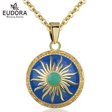 Eudora New 100% Original Blue Harmony ball Pendant Pregnancy Chime Ball Enamel Craft Sun Necklace with gold chain bell for Pregnant Baby new mom gift