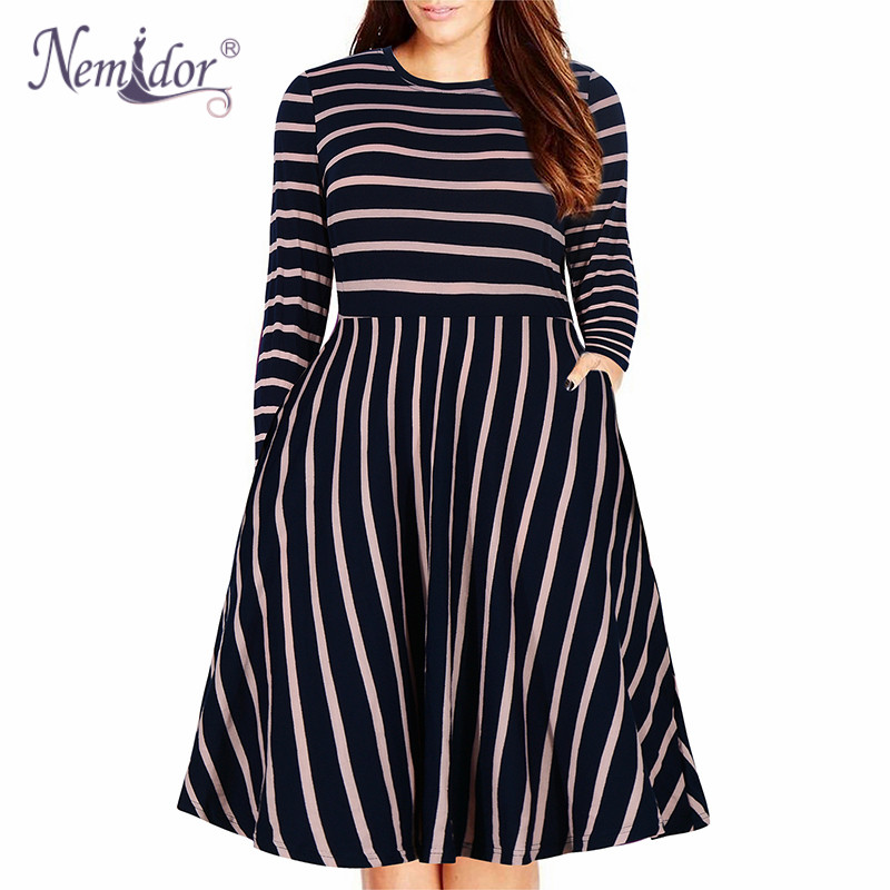 Nemidor Women's Round Neck Summer Casual Plus Size Fit and Flare Midi Dress with Pocket (9)