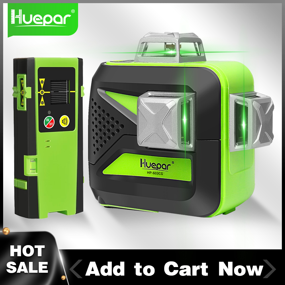 Huepar 3D Cross Line Laser Level 360 Self-leveling 12 Lines Green Beam Measure Tools Includes LR-6RG Digital LCD Laser Receiver