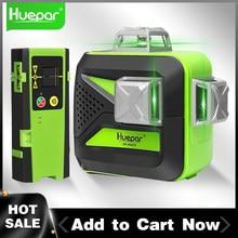 Huepar 3D Cross Line Laser Level 360 Self-leveling 12 Lines Green Beam Measure Tools Includes LR-6RG Digital LCD Laser Receiver