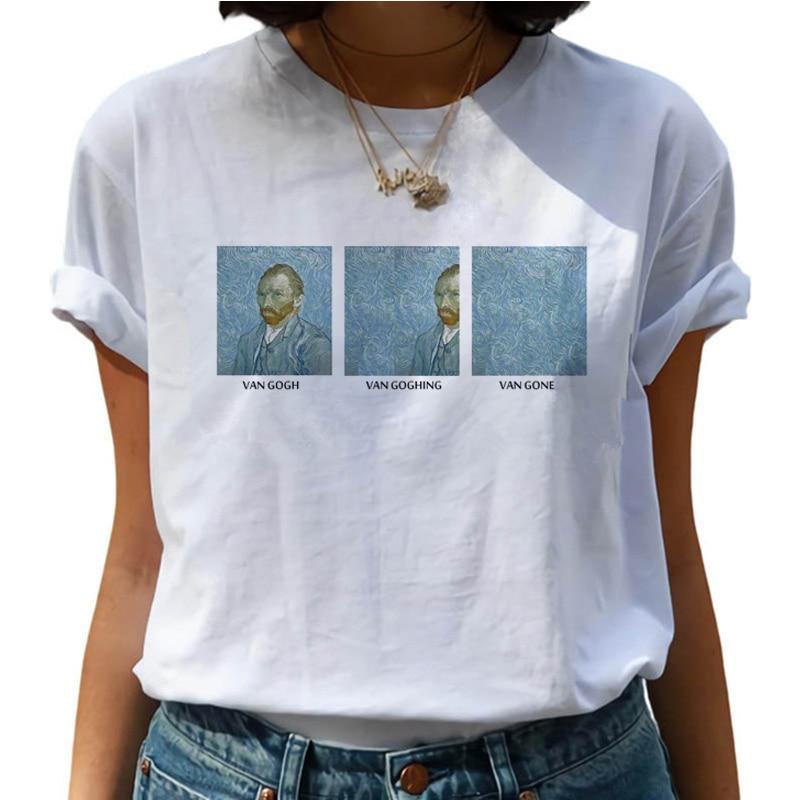Van Gogh Oil Art Painting Harajuku   T     Shirts   Women Van Goghing Van Gone Funny   T  -  shirts   90s Graphic Tshirt Fashion Top Tees Female