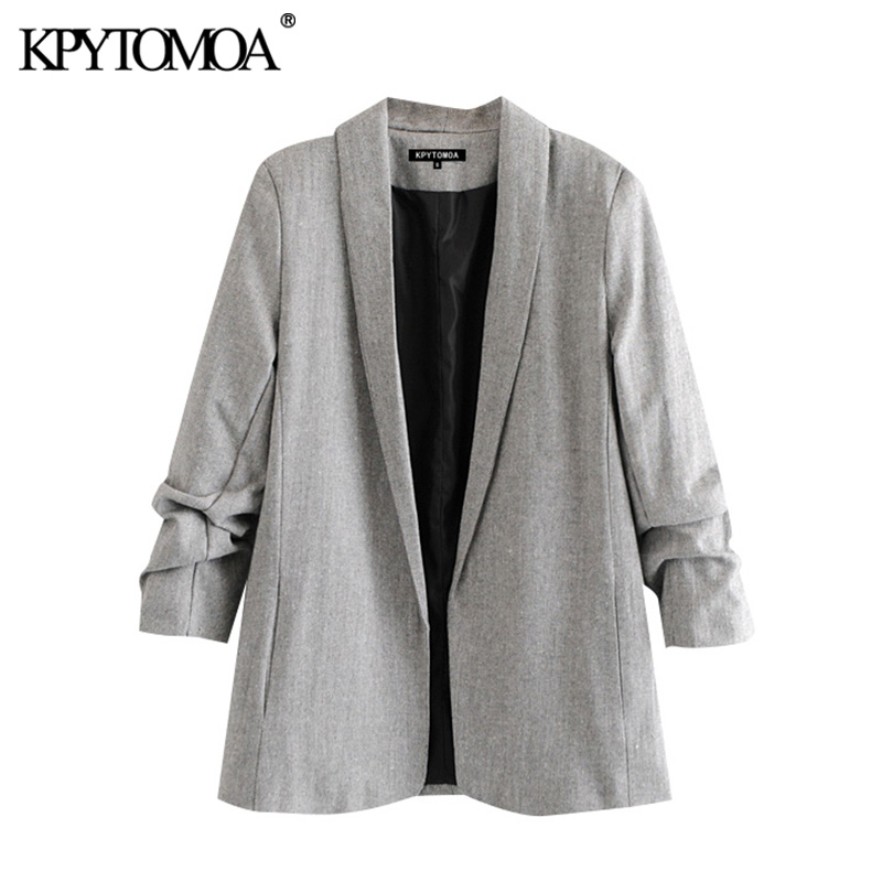 KPYTOMOA Women 2020 Fashion Office Wear Blazer Coat Vintage Notched Collar Pleated Long Sleeve Female Outerwear Chic Tops