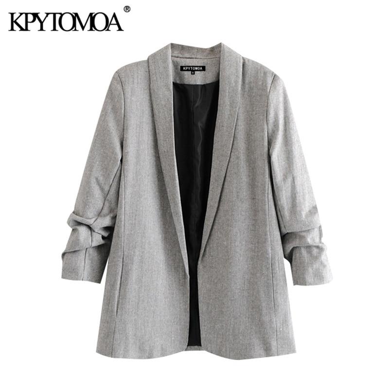 KPYTOMOA Women 2020 Fashion Office Wear Blazer Coat Vintage Notched Collar Pleated Long Sleeve Female Outerwear Chic Tops