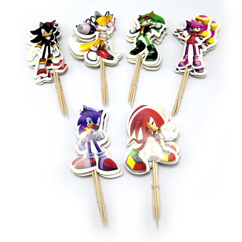 24 Stks/partij Sonic The Hedgehog Thema Versieren Cupcake Toppers Met Stokken Baby Shower Jongens Kids Gunsten Verjaardag Cake Topper