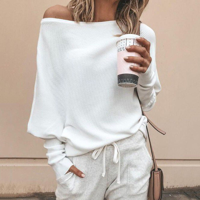 Fashion One Shoulder Sweaters Women Long Sleeve Tops Ladies Loose Knitted Sweater Pullover Truien Dames