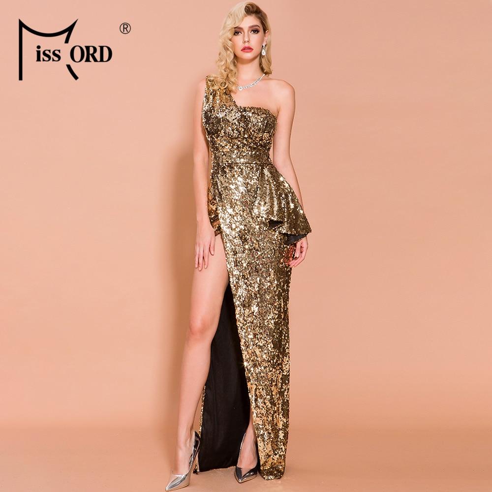 Missord 2019 Women Sexy Off Shoulder Backless Dresses Female Elegant High Split Sequin Maxi  Dress FT19743