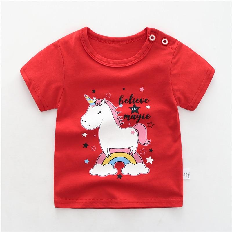 Newborn Baby Kids T Shirts For Girls Boys Tshirt Summer Cotton Cartoon Unicorn Printing Tops T-shirt Children's Clothes