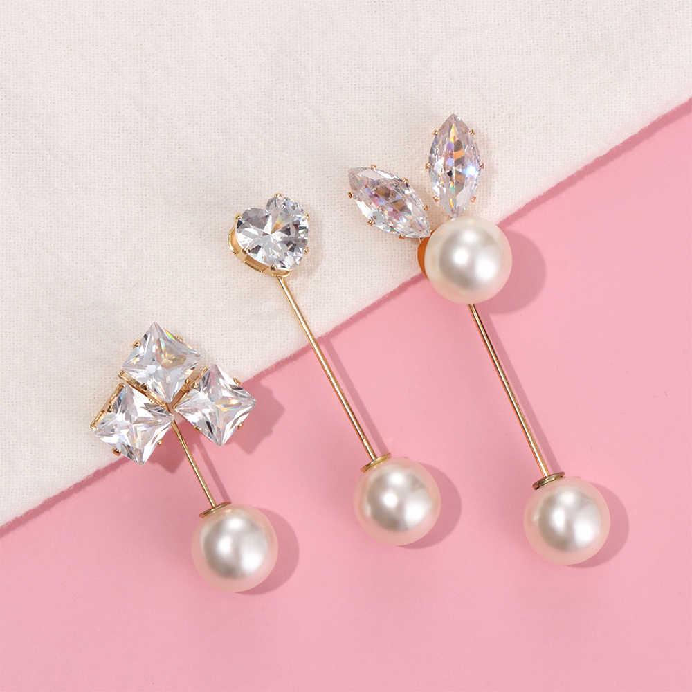 1 Pcs Kristall Blumen Herz Stern Broschen Strass Perle Metall Pin Große Brosche für Frauen Hemd Schleier Hijab Schal