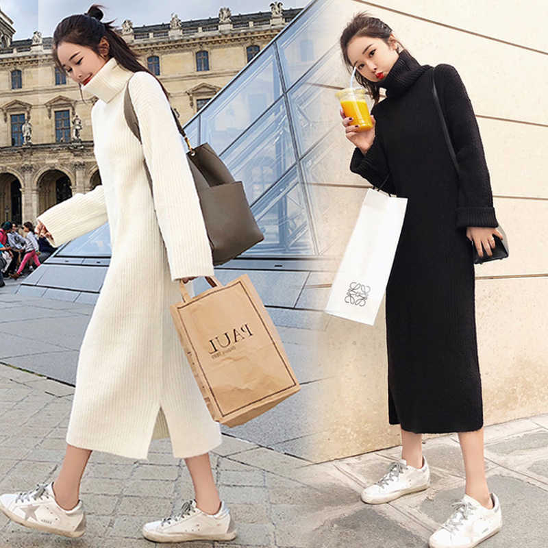 Koreaanse Trui Jurk Vrouwen Gebreide Truien Jurken Vrouwen Over-knee Trui Jurk Plus Size Split Coltrui Truien Jurken OL jurken jurk dress winter