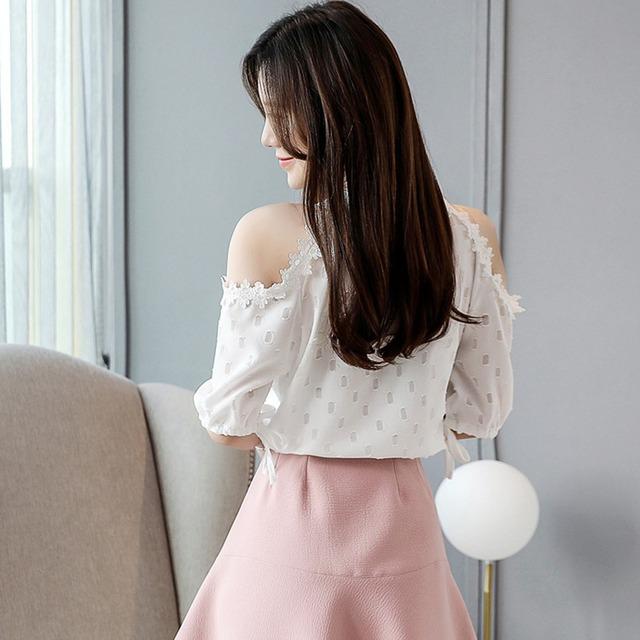 Women  Off Shoulder Short Sleeve Round Neck Blouses