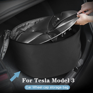 Wheel Cap Storage Bag For Tesla Model 3 Spare Tyre Wheel Valve Covers Car Tire Cover Oxford Storage Bag Wheels Accessories(China)