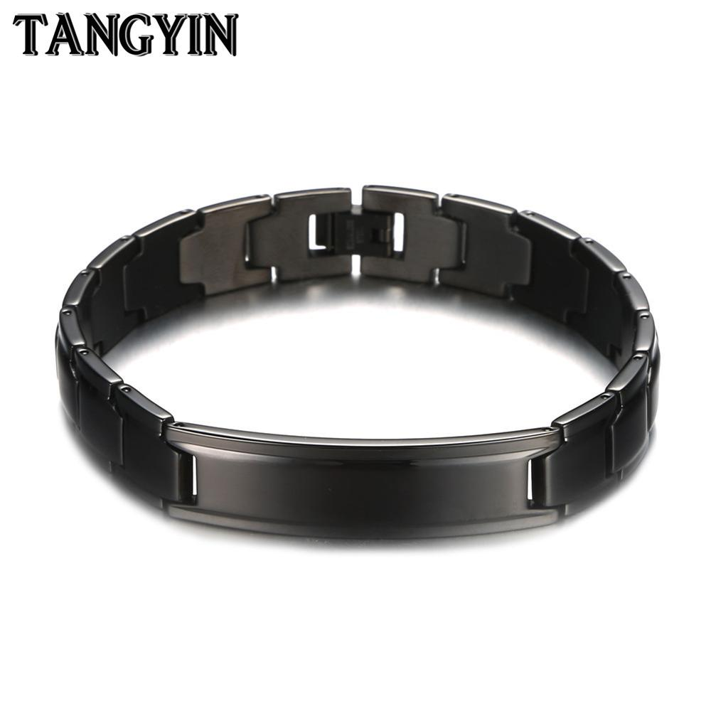 TANGYIN Punk Healthy Energy Bracelet Stainless Steel Elastic Health Balance Tourmaline Germanium Bracelet Men Care Jewelry Gift