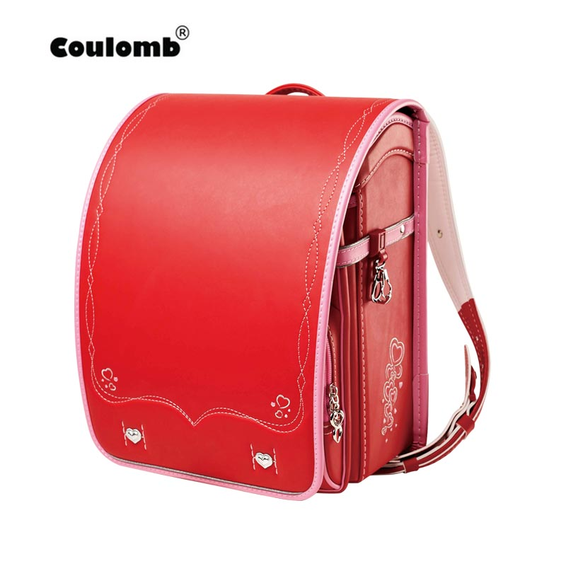 Coulomb Children School Bag For Girls Kid Orthopedic Backpack For School Students Bookbags Japan PU Randoseru Baby Red Bags