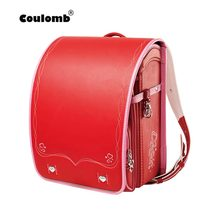 Coulomb Children School Bag For Girls Kid Orthopedic Backpack Students Bookbags Japan PU Randoseru Baby Red Bags