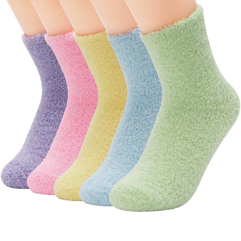 5 пар, карамельные теплые женские милые зимние плотные повседневные женские носки, пушистые теплые носки, короткие милые хлопковые женские ...