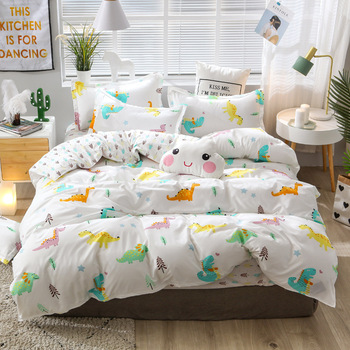 White green yellow blue colorful bedding set 4pcs bed set cartoon bedding collections bed linen kids bedspread comforter sets